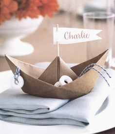 Sailboats used for guest cards and also doubles as a favor...