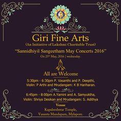#GIRITradingAgency invites all to #SannidhiyilSangeetham May 2016 concert