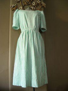 mint stripe  vintage midi day dress by 8loveyvintage8 on Etsy, $30.00