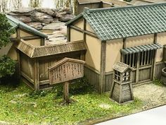 It's an onsen (spa) for the sengoku period. Japanese Style House, Japanese Design, Model Building, Building Design, Samurai, Sengoku Period, Japanese Buildings, China Architecture, Outdoor Furniture Sets