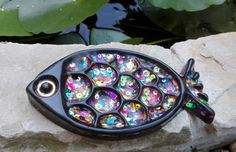 Resin fish soap dish/trinket dish, filled with assorted coloured sequins by artyResin