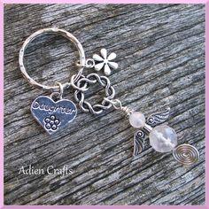 Daughter Guardian Angel Purse or Bag Charm, Rose Quartz Gemstone Angel, Heart Charm