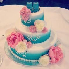 Our gorgeous wedding cake! The ombré color and the owl toppers give it our own personal touch!