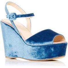 Carmelinas Macarena Platform in Blue Velvet as seen on Emma Roberts