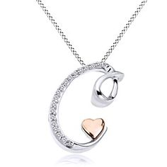 "14K Rose Gold Over Sterling Silver Natural Genuine Diamond ""C"" Initial Pendant With Chain by JewelryHub on Opensky"