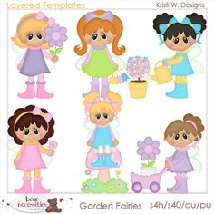 Garden Fairies Little Girls Whimsy PSD Digital by marlodeedesigns, $5.00