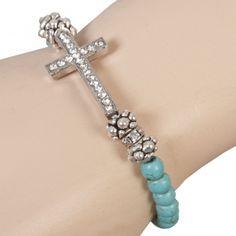Cross bracelet  turquoise www.rosesandribbons.nl