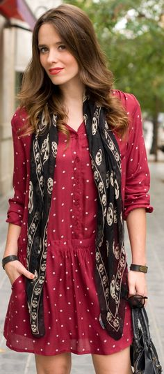 #burgundy #dress + #scarf #skull by Macarena Gea