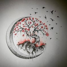Tree Tattoo - Moon Tree of Life - Drawings - . - Tree Tattoo – Moon Tree of Life – Drawings – … – – - Tree Tattoo Designs, Tattoo Design Drawings, Tattoo Sketches, Drawings Of Tattoos, Drawings Of Trees, Feather Tattoo Design, Mini Tattoos, Flower Tattoos, Nature Tattoos