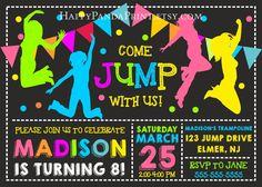 JUMP Invitation, Bounce House Invitation, JUMP Birthday Party, Sky High Invitation, Trampoline birthday invitation, Pump It Up Party, Bounce Party, Pump It Up Invitation Pum It Up Birthday, Bounce Invitation, Bounce Birthday, Trampoline Party #jump #trampoline #pumpitup #bounce #invitations #birthday #children #kids