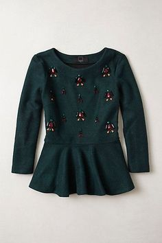 Gem drop peplum top. {anthropologie} Pretty embellished top. wine and green.