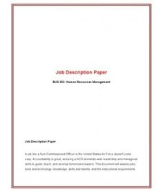 Bus  Week  Job Description Paper  Models Job Description And