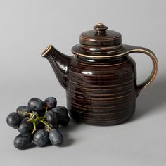 arabia teapot brown collectible 1960s mid century by northvintage, $125.00