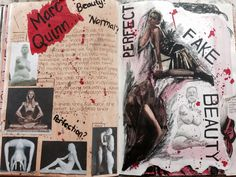 Title: Messages Marc Quinn and What is Beauty? A Level Art Sketchbook Layout, A Level Textiles Sketchbook, Gcse Art Sketchbook, Exam Messages, Mind Map Art, Dada Collage, Marc Quinn, Art Alevel, Reflection Art