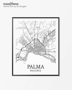 Palma de Mallorca Map Art Print, Palma de Mallorca Poster Map of Palma de…
