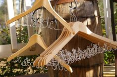 Set of 9 Bridal Hangers Personalized / by FancyWireHangers on Etsy, $135.00