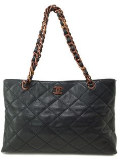 CHANEL Auth Chain Tote Bag Matelasse Black Caviar Skin Free Ship Excellent #7741 #CHANEL #TotesShoppers