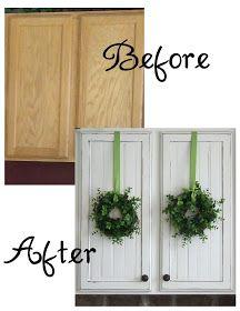 Painting kitchen cabinets adding beadboard