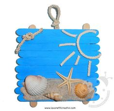 sea, what we did today 😂 Sea Crafts, Seashell Crafts, Crafts To Make, Home Crafts, Summer Crafts For Kids, Diy For Kids, Diy Popsicle Stick Crafts, Adult Crafts, Preschool Crafts