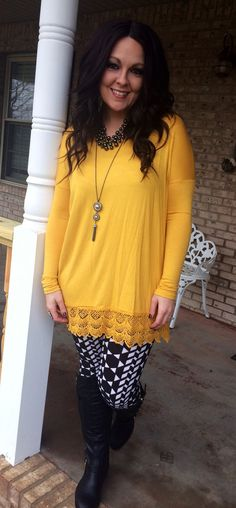 Lace Trimmed Tunic! 3 colors available!  Great with leggings!  reallyroxie.com