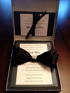 Black & White Shimmering Boxed Wedding Invitation. $14.50, via Etsy.