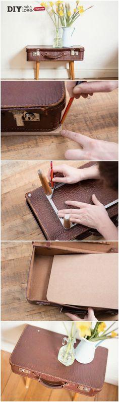Il tutorial per gli amanti del vintage: realizzare un tavolino con una vecchia valigia - http://it.dawanda.com/tutorial-fai-da-te/bricolage/come-realizzare-tavolino-riciclando-valigia