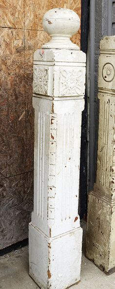 Painted post with carved decorative trim and ball finial from Philadelphia. Showroom Assistance: Phone: 1 877-737-0554 Email: info@sa1969.com Antique Mantel, Antique Doors, Farmhouse Stairs, Southern Accents, Newel Posts, Architectural Antiques, Decorative Trim, Antique Lighting, Salvaged Wood