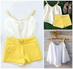 Braided neck loose top shirt with shorts for toddler