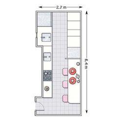 Plano de barra en cocina alargada
