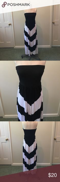 Cynthia Rowley Strapless Black/White Maxi Dress Cynthia Rowley black and white chevron strapless maxi dress. Worn once- like new condition! This dress can be dressed up with fun jewelry or even dressed down and thrown on as an adorable cover-up! Material is extremely soft, making this dress feel like you never got out of your sweats while looking all dressed up! Cynthia Rowley Dresses Maxi