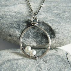 Sterling Silver Hammered Hoop Tiny Pearl Necklace by VinLace