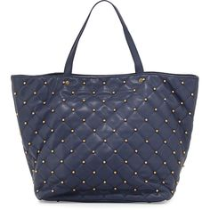 Neiman Marcus Beaded Quilted Tote Bag ($90) ❤ liked on Polyvore featuring bags, handbags, tote bags, neiman marcus tote, navy blue tote, navy purse, beaded handbag e navy handbag