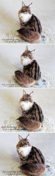 life sized needle felted cat