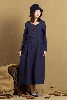 Plisado vestido de lino en invierno azul / larga por camelliatune