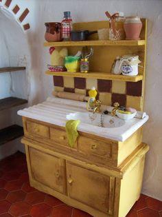 Doll house miniatures | fregadero de cocina rústica