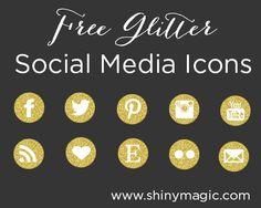 Free Glitter Social Media Icons - Free Social Media Icons - Free Social Media Buttons - ShinyMagic - Website Design, Blog Design, Logo Design, Graphic Design, Branding