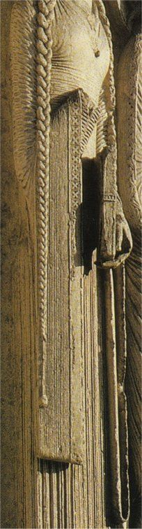 The Bliaut throughout 12th Century Europe  Chartres: See the knife-pleats and the long sleeves with geometric trim on the edges. Notice that her sleeves are square at the bottom.