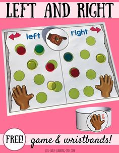 Practice learning left and right with these free wristbands and board game! Practice learning left and right with these free wristbands and board game! Free Preschool, Kindergarten Activities, Classroom Activities, Learning Activities, Preschool Activities, Kindergarten Freebies, Birthday Activities, Preschool Education, Early Learning