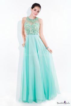 A-line Jewel Neckline Floor-length Chiffon Prom Dress Adorned with Applique