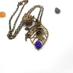 A parfumer!!! sautoir a parfumer feuilles, fleur violette