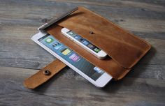 Double bag iPad mini case covers superior cow by iLeatherCrafts