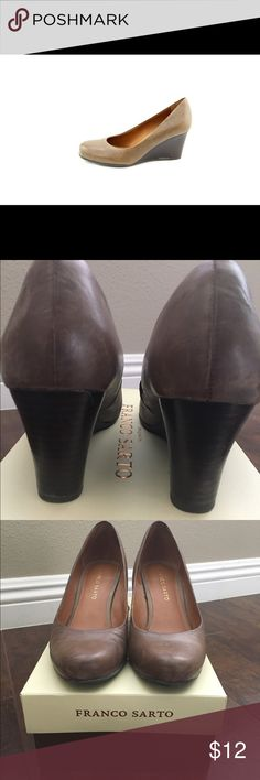 Franco Sarto L-Rina wedges in Taupe Downsizing my shoes. Size 6.5. They ship in original box. In good used condition with some signs of wear (minor in my opinion). They are leather. Color is Taupe, not tan but that's the closest I could pick. Bundles 30% off. Franco Sarto Shoes Wedges