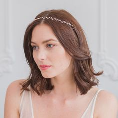 Pearl wedding hair vine in silver - 'Skye'