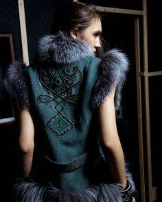 жилет с вышивкой Daily Fashion, Love Fashion, High Fashion, Winter Fashion, Womens Fashion, Fashion Design, Couture Details, Haute Couture Style, Diy Clothes Design