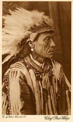 """THE VANISHING RACE - """"CHIEF RED WHIP"""" - GROS VENTRES - GENUINE  PHOTOGRAVURE"""