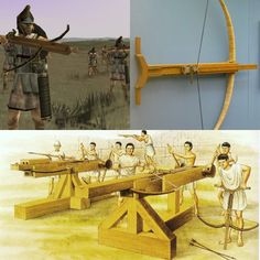 """Gastraphetes - """"belly-releaser"""" was a hand-held crossbow, described in the 1st century CE by the Greek author Heron of Alexandria in his work Belopoeica, which draws on an earlier account of the famous Greek engineer Ctesibius (fl. 285–222 BCE). Heron identifies the gastraphetes as the forerunner of the later catapult, which places its invention some unknown time prior to c. 400 BCE.  A larger version (below) of the gastraphetes were the oxybeles, which were used in siege warfare."""