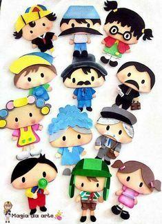 Moldes chaves Foam Crafts, Crafts To Do, Crafts For Kids, Diy Crafts, Kids Nursery Rhymes, Kawaii, Paper Toys, Digital Stamps, Box Design