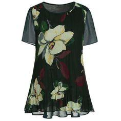 RoseWholesale - Rosewholesale Floral Short Sleeve Plus Size Top - AdoreWe.com