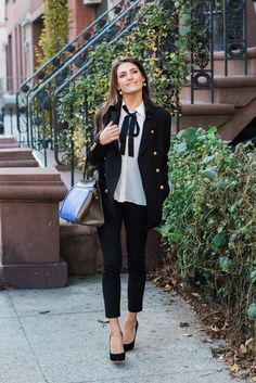 bow blouse work outfit