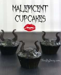 Maleficent Cupcakes with Horns Inspired by Disney - Thrifty Jinxy